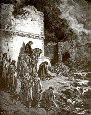 Paul Gustave Dore. Illustration to the Bible: Nehemiah at the walls of Jerusalem