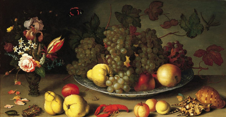 Baltazar van der Ast. Still life with fruit and flowers in a vase