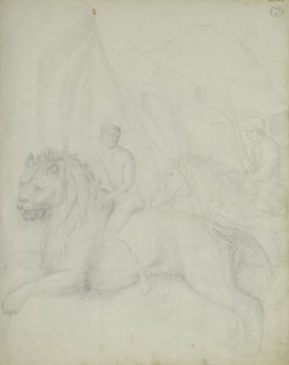 Jacopo Bellini. A satyr riding a lion