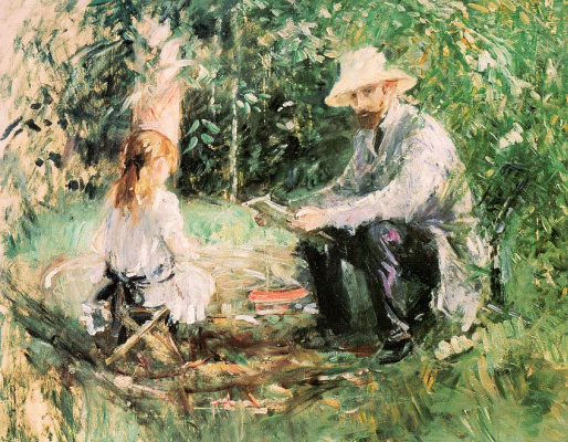 Berthe Morisot. Eugène Manet with his daughter in the garden