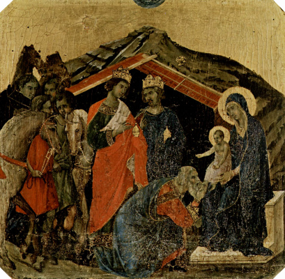 Duccio di Buoninsegna. Maesta, altar of Siena Cathedral, front, predella with scenes from the childhood of Jesus and the prophets