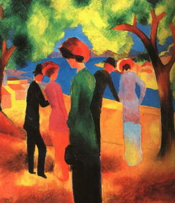 August Macke. The woman in the green jacket