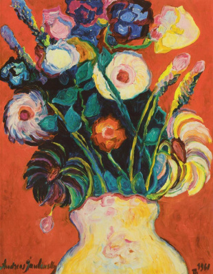 Андреас (Андрей) Алексеевич Явленский. Букет цветов в жёлтой вазе