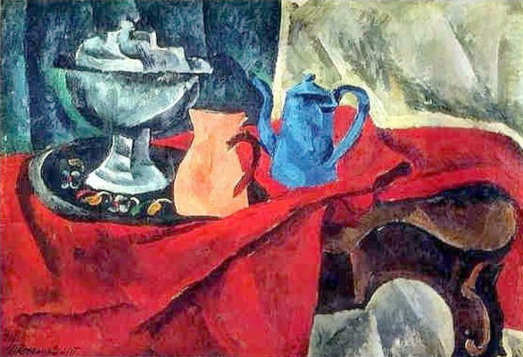 Petr Petrovich Konchalovsky. Vessels on the red tablecloth