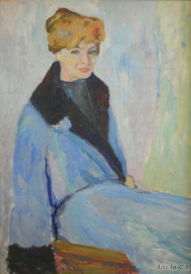 Владислав Акимович Потехин. Портрет женщины в голубом