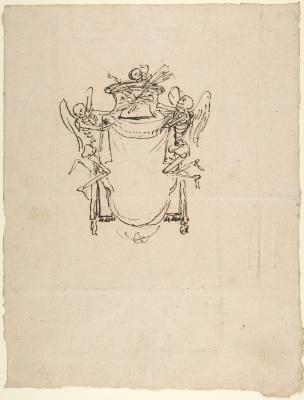 Gian Lorenzo Bernini. Sketch of a wall tomb with skeletons