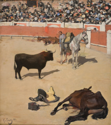 Ramon Casas i Carbó. Bullfight. Horses killed by a bull