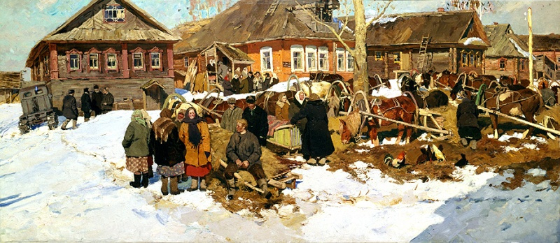 Vladimir Fedorovich Stozharov. The arrival at the gathering of farmers, foremost