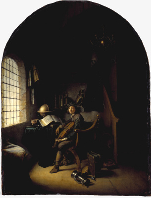 Gerrit (Gerard) Dow. Interior with young violinist