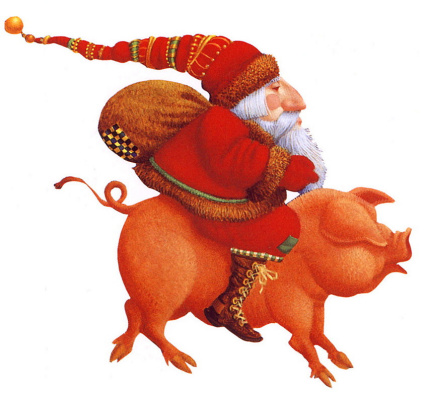 James Christensen. Santa on a pig