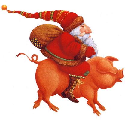 Джеймс Кристенсен. Санта на свинье
