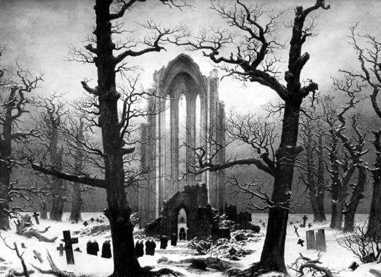 Caspar David Friedrich. Monastery cemetery in the snow