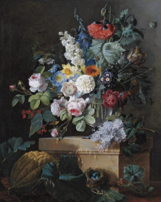 Pierre-Joseph Redoute. Still life with flowers in a glass vase and a bird's nest