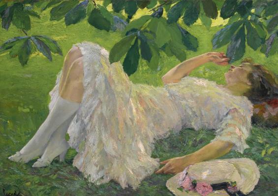 Edward Cucouel. Lying woman in white.