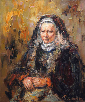 Tuman Art Gallery Tumana Zhumabayeva. Portrait of an elderly woman