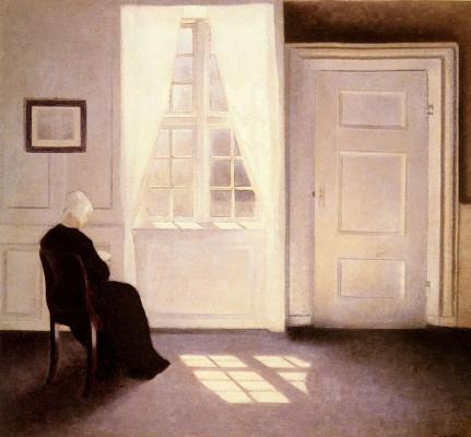 Vilhelm Hammershøi. Woman reading by the window