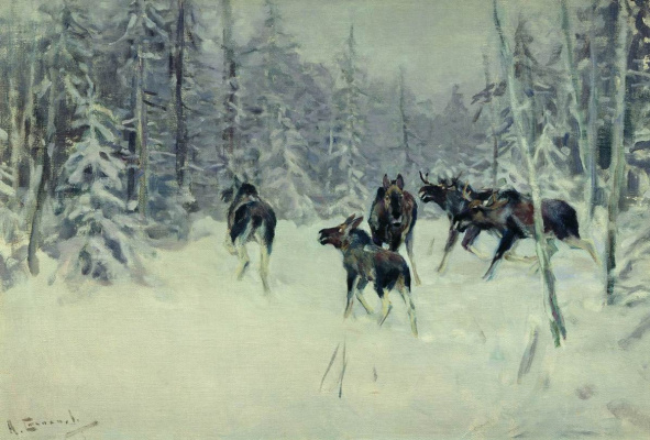 Алексей Степанович Степанов (1780-1887). Лоси. 1919