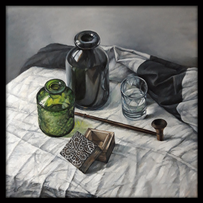 Olga Ray. Still-life with a pipe and bottles