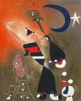 Joan (Joan) Miro. The woman, the bird and the moonlight