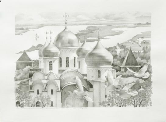 "Vasily Vasilyevich Timofeev. ""St. Sophia Cathedral"" in Veliky Novgorod"