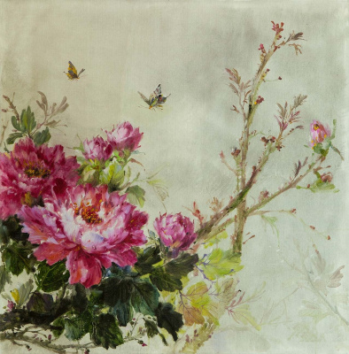 Savely Kamsky. Peonies and butterflies
