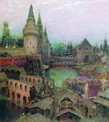 Apollinarius Mikhailovich Vasnetsov. At dawn at the resurrection of the bridge. The end of the XVII century