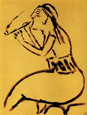 "Mikhail Larionov. Turk woman with a pipe. From the album ""Journey to Turkey"""