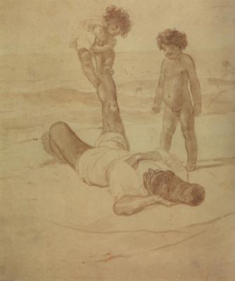"Karl Pavlovich Bryullov. Lazzaroni and children. From the ""Lazzaroni on the shore of the sea"""