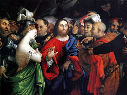 Lorenzo Lotto. Christ and the sinner