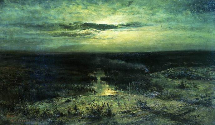 Alexey The Kondratyevich Savrasov. Moonlit night. Swamp