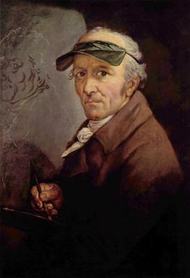 Anton Graff. Self-portrait in a green visor