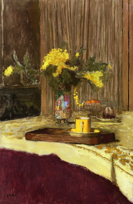Jean Edouard Vuillard. Bouquet of Mimosa on a table