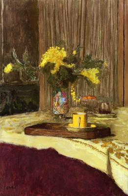 Jean Edouard Vuillard. Bouquet of Mimosa on a table