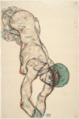 Egon Schiele. Nude woman in a green hat