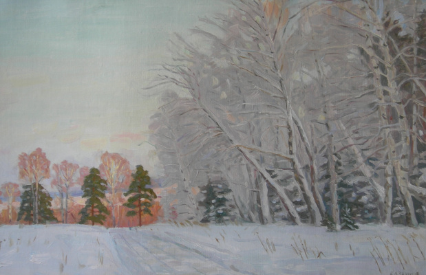 Eugene Alexandrovich Kazantsev. Winter forest. Frost.