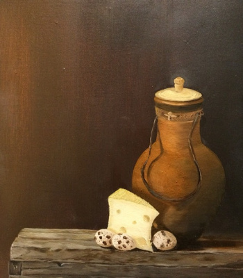 Svetlana Rusanova. Still life with cheese.