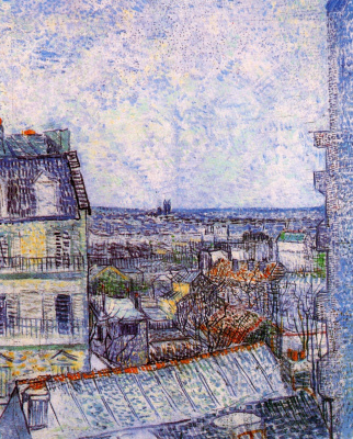 Vincent van Gogh. The view from the apartment of Vincent on Rue LePic
