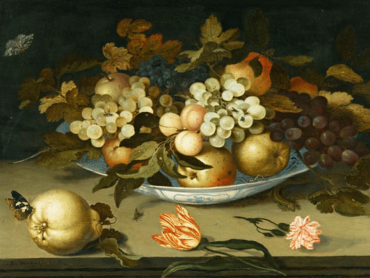 Baltazar van der Ast. Fruit plate, pear, butterfly and Tulip on the table