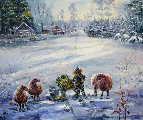 Elena Nikolaevna Zorina. Winter in the village