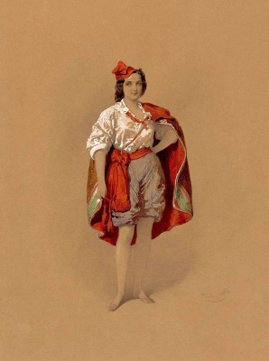 Mikhail Alexandrovich Zichy. A young girl in a men's Italian costume. State Hermitage, St. Petersburg. The drawing came from the library of Alexander II in the Winter Palace.