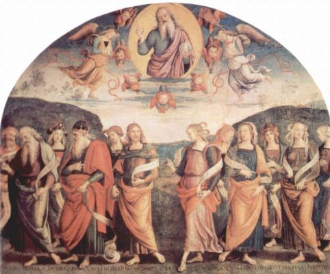 Пьетро Перуджино. Фрески из залы приемов Правления биржи в Перудже. Бог-Отец с пророками и сивиллами