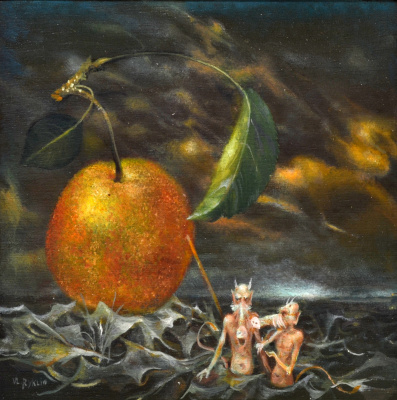 """Vladimir (Vladimir) Mikhailovich Ryklin (Ryklin). """"Expulsion from Hell"""", """"Devils"""", miniature, oil on Board"""
