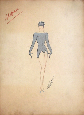 """Romain Tirtoff. Design a stage costume for a production of """"ball at the Tabarin"""""""