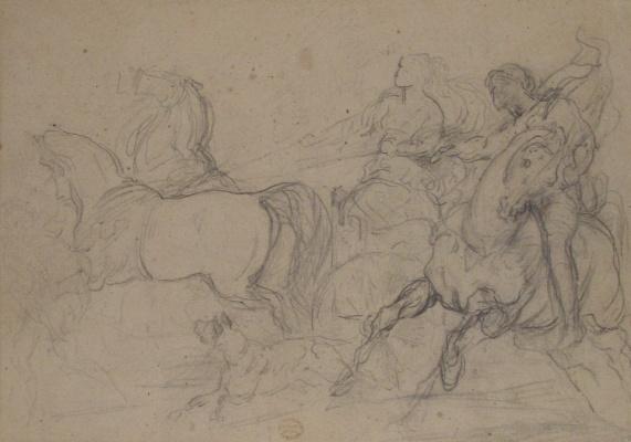 Théodore Géricault. Galloping horsemen. Sketch