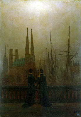 Caspar David Friedrich. Night at the harbor
