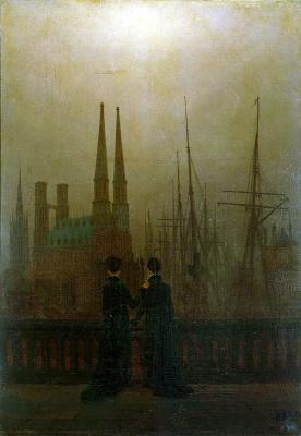 Caspar David Friedrich. Night at the harbor