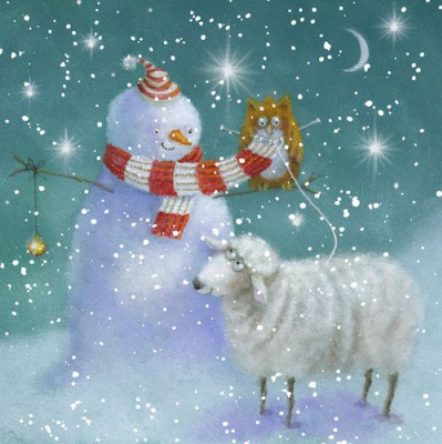 Jen Pashley. Snowman, sheep and owl