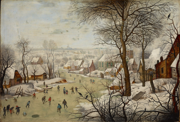 Peter Brueghel the Younger. A trap for birds in the winter landscape