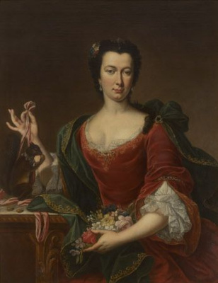 Unknown artist. Portrait of French women with flowers and a squirrel
