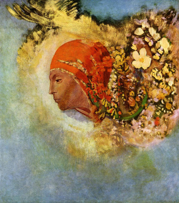 Odilon Redon. Head with flowers